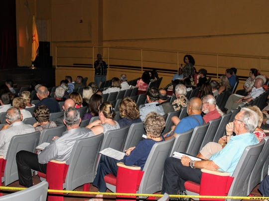 About 100 residents came out to the Flickinger Center for Performing Arts to learn more about MainGate United and what is being done to accommodate the new F-16 squadrons coming from Hill Air Force Base to Holloman Air Force Base Wednesday evening.