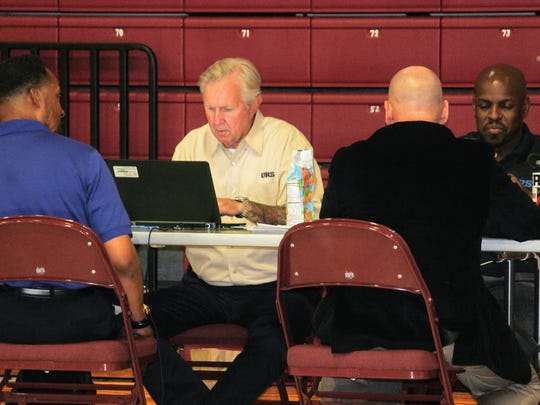 AECOM recruiters interview candidates for full time aircraft maintenance jobs at the Tays Center Tuesday.