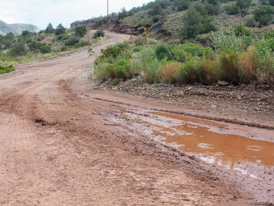 Flooding made Fresnal Canyon Road in High Rolls impassable