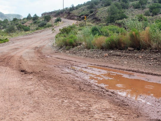 Flooding made Fresnal Canyon Road in High Rolls impassable Monday evening. The road is now clear.