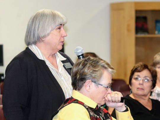 A New Mexico State University supporter provides input on what she would like to see in the university's next chancellor during a listening session at NMSU-Alamogordo Tuesday night.