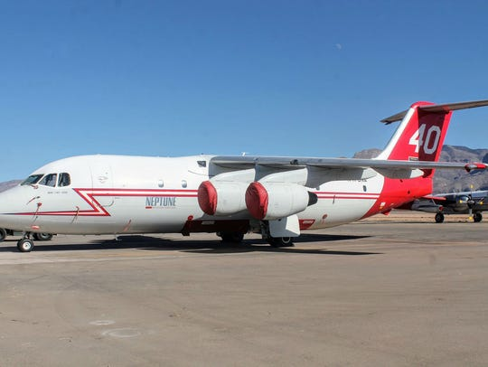 A BAe-146 is parked on the runway at Alamogordo-White