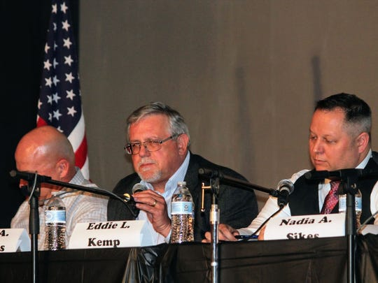 City Commission candidate for District 2 Craig A. Danekas answers a question at Tuesday's City Commission candidate debate at the Historic Sands Theater.
