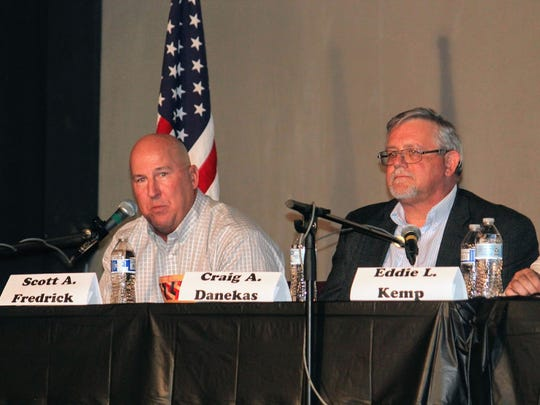 City Commission candidates for District 2 debated one another on the issues Tuesday at the Historic Sands Theater.