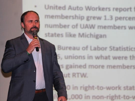 Americans for Prosperity State Director Burly Cain, who supports right-to-work, presented to County Commissioners and the public about right-to-work Wednesday.