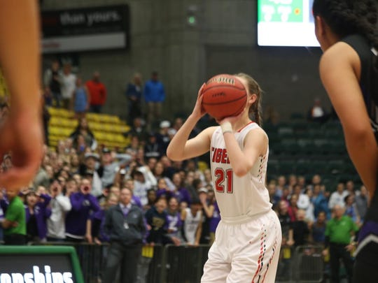 Hailey Homer attempts game-winning free throw.