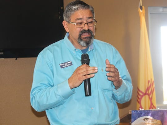 Otero County Sheriff Republican candidate Bill Garza introduces himself at Wednesday's Republican Women of Otero County meeting.