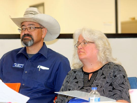 Jen A. Garza, a Republican candidate, is running for Magistrate Judge Division II. Garza sits with her husband, Bill Garza, who is currently running for Otero County Sheriff.