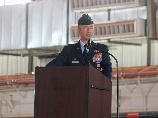 Col. Houston Cantwell, outgoing 49th Wing commander,