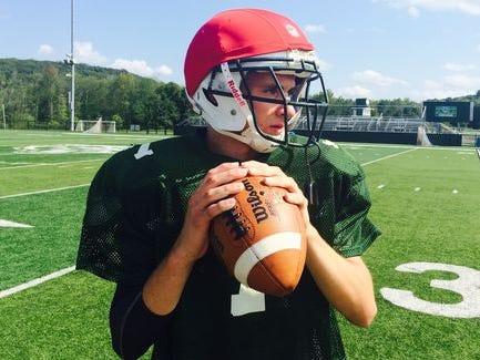 Brewster quarterback Matt Catalano at practice on Aug. 19, 2015.