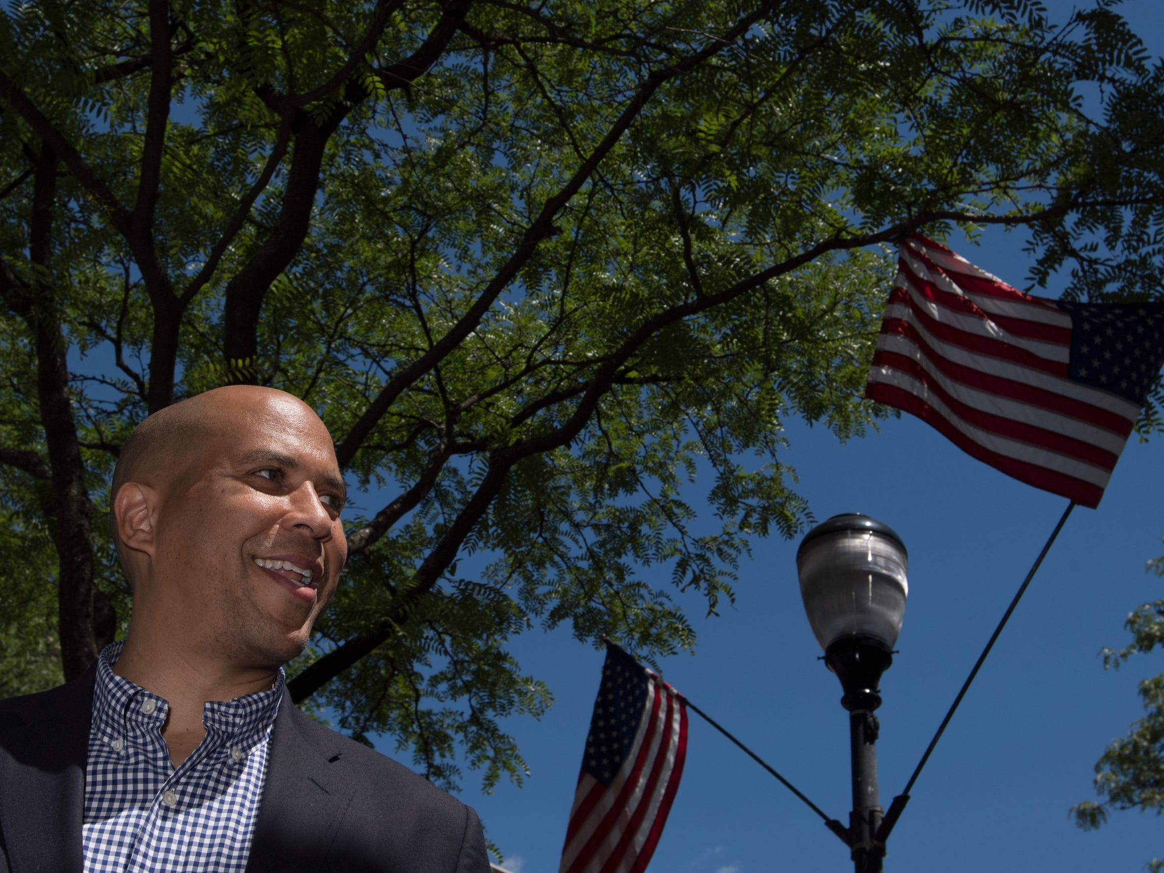 Senator Cory Booker in Somerville on Sunday, July 30,