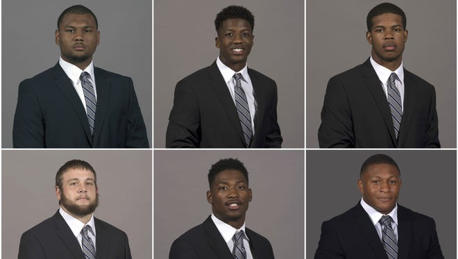 From top left: Darrell Henderson, Tony Pollard, Genard Avery, Ernest Suttles, Anthony Miller, Phil Mayhue, Jackson Dillon, Damonte Coxie and Shareef White.