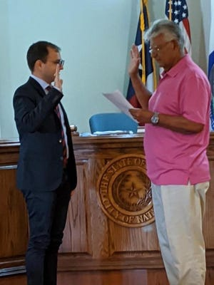 Rene Hinojosa was administered the Oath of Office of City Administrator/Secretary for the City of Natalia, Texas. Administering the Oath is Natalia City Mayor Tommy Ortiz.