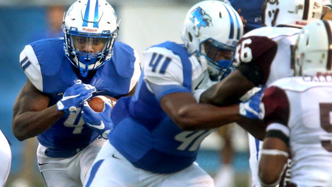 MTSU's I'Tavius Mathers (4) had a huge game Saturday in Bowling Green, Ohio.