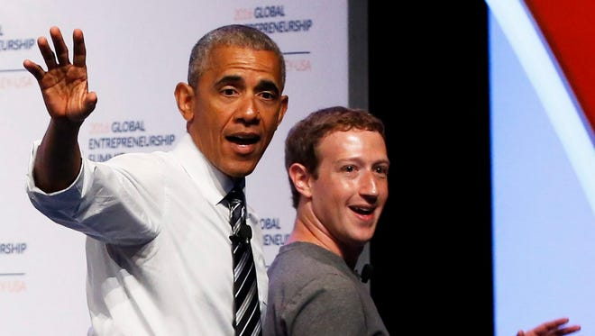 President Barack Obama and Mark Zuckerberg, Founder of Facebook leaves the stage during the 2016 Global Entrepreneurship Summit  in Stanford, California