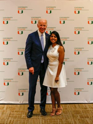 """On March 20,East Brunswick resident Renu Nargund not only met Joe Biden but introduced him at an """"It's On Us"""" rally at her school, the University of Miami."""