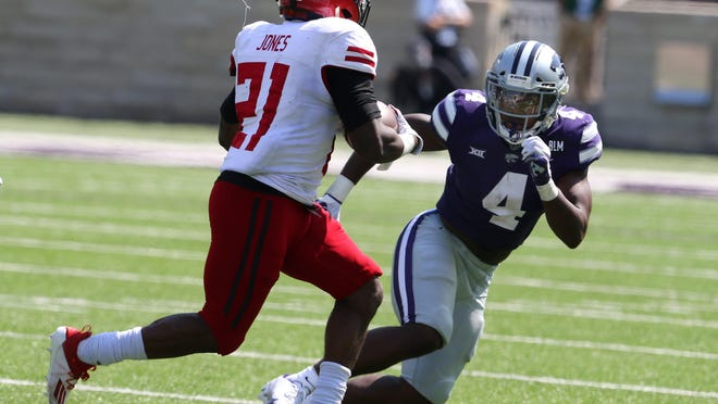 Kansas State strong safety Wayne Jones (4) was one of several Wildcats injured during the Sept. 12 season opener against Arkansas State at Bill Snyder Family Stadium.