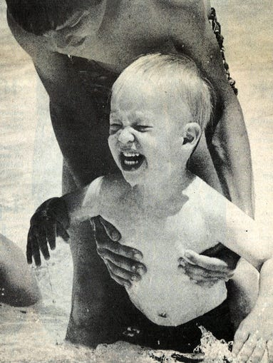 A boy plays at City Park Pool in 1979.