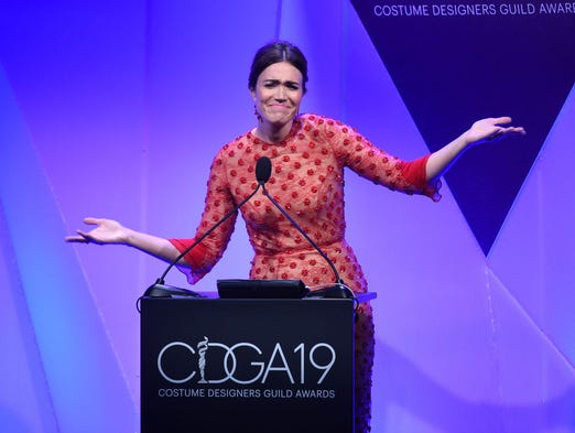 Host Mandy Moore speaks onstage at The 19th CDGA (Costume