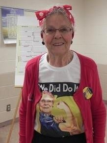 """Jane Biestek, a real-life Rosie the Riveter, helped build B-24 bombers during World War II. She was among the """"Rosies"""" honored last year at a five-kilometer run in Livonia; a number of real-life Rosies will be recognized July 20 during the Norwayne Homefront Celebration in Westland."""