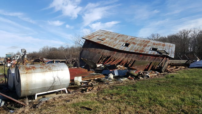 The National Weather Service said an EF0 tornado destroyed four buildings, including this wood shop, on the Thomas farm on East Fountain City Pike on Dec. 23.