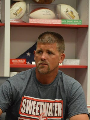 Sweetwater coach Shane Mobley, shown here studying game film on Thursday, Sept. 8 in his office, speaks to Reporter-News sportswriter Evan Ren in this week's Big Country Q&A.
