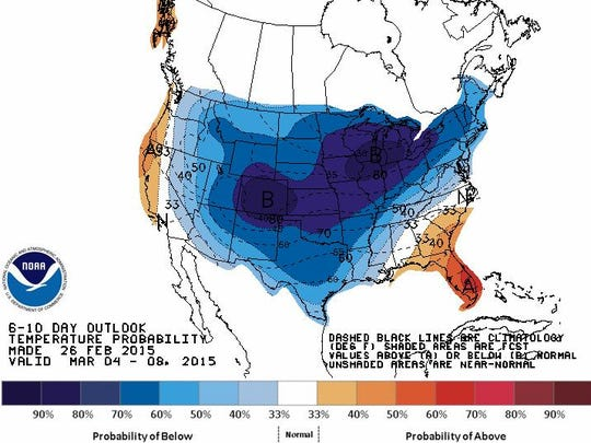 A National Weather Service map shows a  mass of frigid air hangs over the center of the nation, extending over Michigan.
