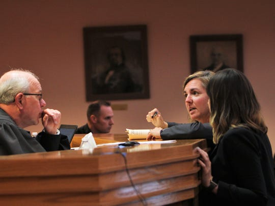 Anderson County Public Defender Jennifer Johnson, second from right, talks to Circuit Court Judge Donald Hocker.