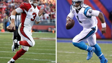 FILE - At left, in Nov. 29, 2015, file photo, Arizona Cardinals quarterback Carson Palmer (3) runs for a touchdown against the San Francisco 49ers during the second half of an NFL football game in Santa Clara, Calif. At right, in a Dec. 20, 2015, file photo, Carolina Panthers' Cam Newton (1) plays during the second half of an NFL game against the New York Giants, in East Rutherford, N.J. Arizona and Carolina play in the NFC Championship game on Sunday, Jan. 24, in Charlotte.