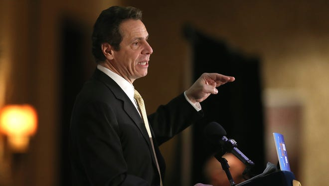 """It's up to Gov. Andrew Cuomo, here addressing a Rotary luncheon in Rochester last March, whether to sign two bills that would strengthen New York's """"freedom of information"""" law."""