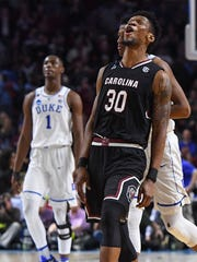 South Carolina forward Chris Silva (30) reacts after the Gamecocks defeated Duke 88-81 in the 2nd round of the NCAA Tournament at Bon Secours Wellness Arena in downtown Greenville on Sunday, March 19, 2017.