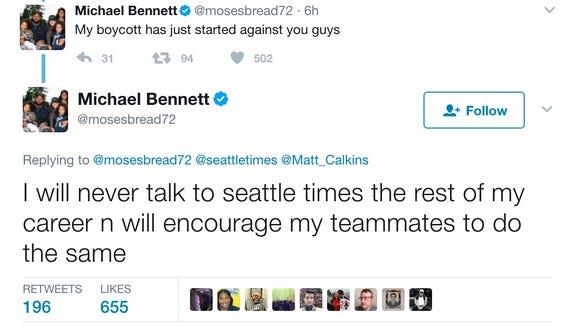 Michael Bennett threatens career-long boycott of the Seattle Times over a column