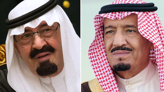The late Saudi King Abdullah bin Abdul Aziz, left, and his successor, his half-brother and new king, Salman bin Abdul Aziz (R). Saudi Arabia's elderly King Abdullah died on Jan. 23, 2015.