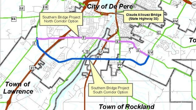Southern Bridge Project corridor location options.