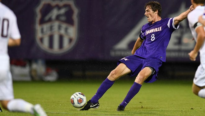 Evansville's Ian McGrath makes a goal kick in the first period as the Evansville mens soccer Aces hosts Missouri State at Arad McCutchan Stadium Saturday, October 1, 2016.
