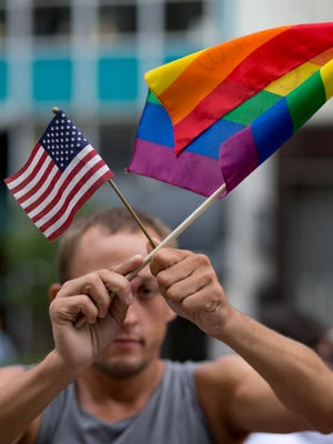 Chaunce O'Connor rallies July 2 outside a Miami courthouse  during a hearing on same-sex marriages.