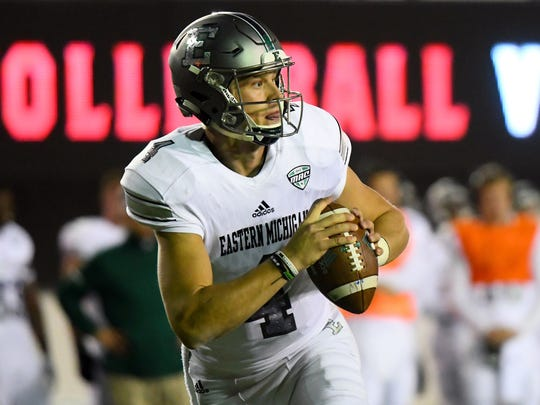 Eastern Michigan quarterback Brogan Roback (4).