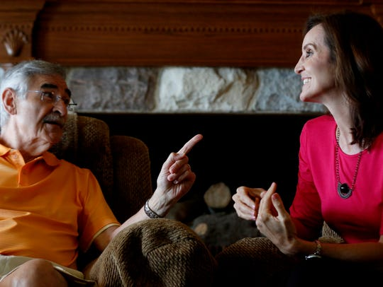 Dick Purtan and daughter JoAnne Purtan in his West Bloomfield home.