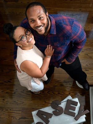 Titans defensive lineman Jurell Casey with his fiancee Ryann Gray at their new home Thursday June 23, 2016, in Brentwood, Tenn.