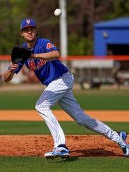 New York Mets starting pitcher Jacob deGrom fields
