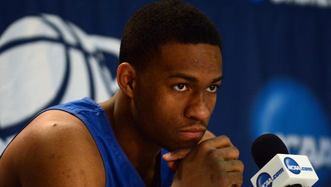 Duke Blue Devils forward Jabari Parker speaks during a press conference during practice before the second round of the 2014 NCAA Tournament at PNC Arena.
