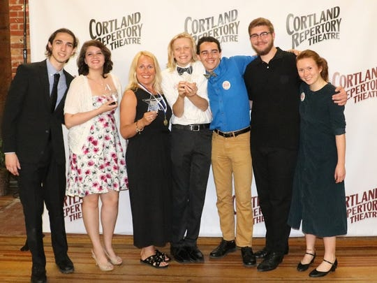 "Members of the Dryden Cast of ""Anything Goes"" Dominic Bisbee, Alyssa Salerno, Director Amy Porcaro-Taylor, Mark Dodici, Gabe Woods, Logan Bobnick and Cameron Park  attending the Cortland Repertory Theatre Pavilion Awards."