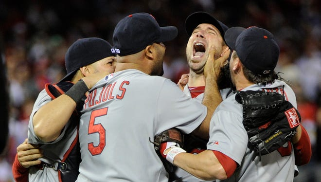 Chris Carpenter's finest career moment might have been his 1-0 besting of Roy Halladay in Game 5 of the 2011 NLDS. He pitched and won Game 7 of the World Series later that October.