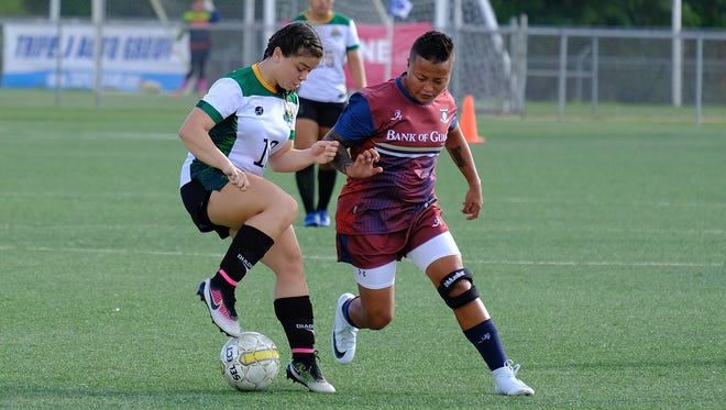 University of Guam Tritons defeated the Bank of Guam Strykers 7-1 in women's soccer.