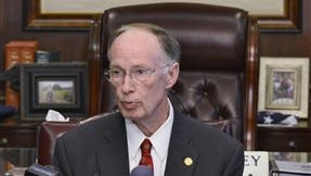 Alabama Governor Robert Bentley holds a news conference at the Governor's Office on Friday, April 11, 2014.  Bentley signed the education budget for the next fiscal year even though it did not include the 2 percent raise that he sought for teachers and school employees.  Bentley announced Friday that would not force lawmakers into special session over the issue of the raise. (AP Photo/The Montgomery Advertiser, Lloyd Gallman)  NO SALES)