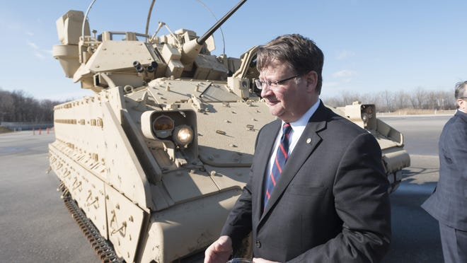 U.S. Senator Gary Peters (MI), a member of the Senate Armed Services Committee, visited BAE Systems, in Sterling Heights, February 23, 2017. Peters said he expects features of self-driving and autonomous vehicles to be incorporated into future generations of military defense vehicles.