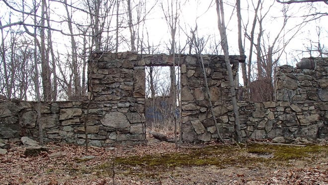Stone foundations of the dining/meeting hall at Camp Bergwald on Federal Hill in Bloomingdale pictured in 2014. It was built in 1939.