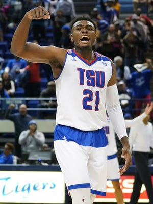 Christian Mekowulu of Tennessee State during the 2017-18 season.