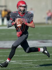 Abbeville Christian quarterback Drex Roach (10) looks to pass against Chambers Academy at the AISA State Championships in Troy, Ala. on Friday November 20, 2015.