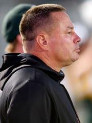 Tennessee head football coach Butch Jones looks on during the game between Catholic and Rhea County Thursday, Sept. 28, 2017, in Knoxville, Tenn.